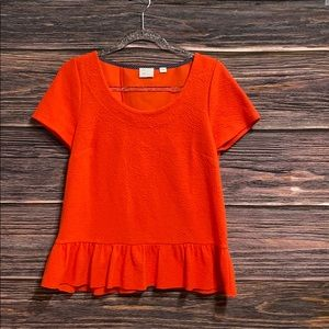 Anthropologie 9-h15 stcl Peplum Top size M